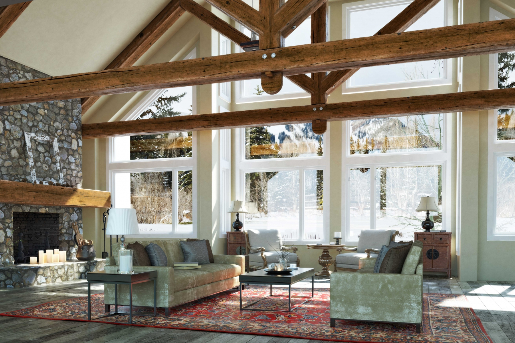 beautiful open concept cabin interior with wood beams