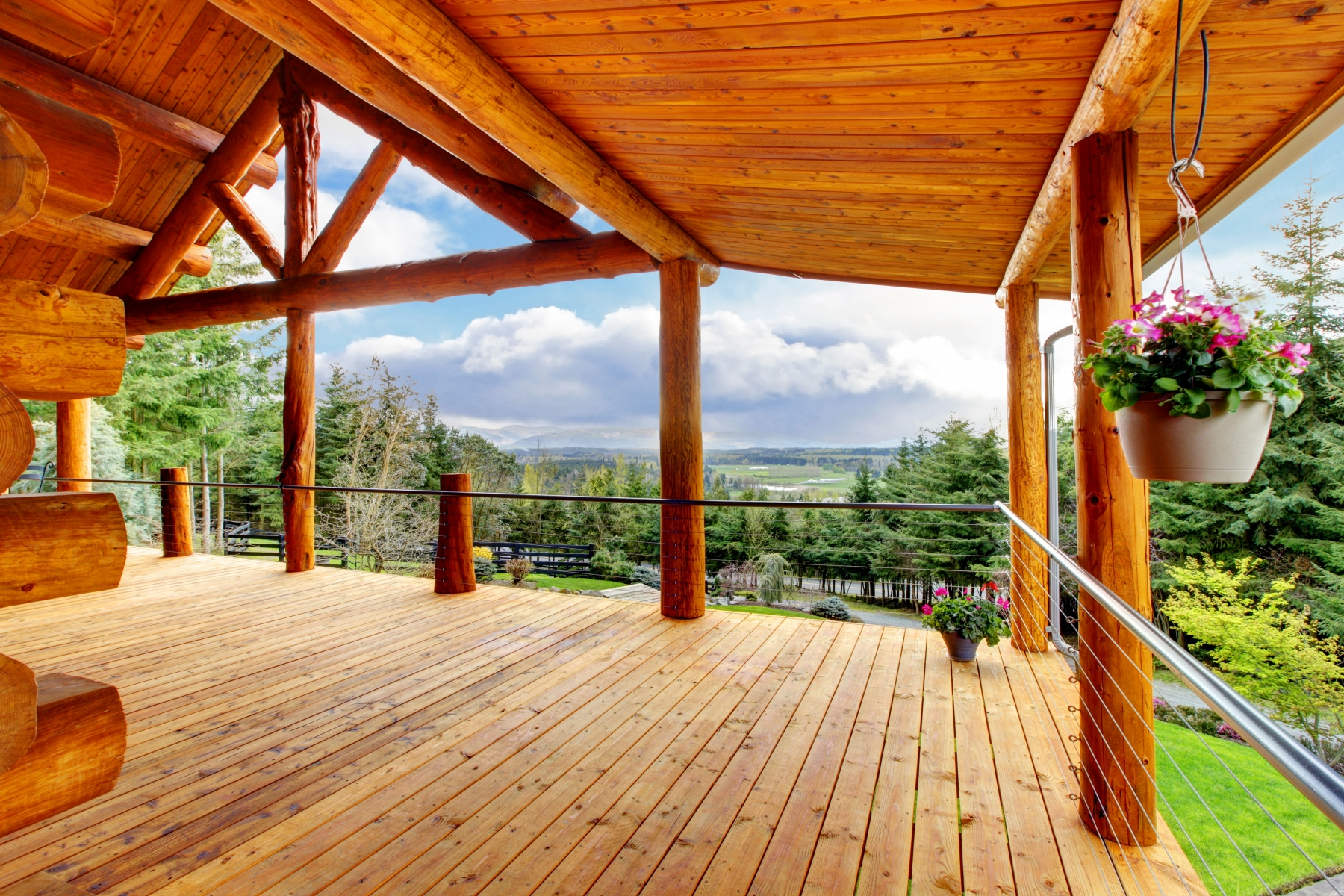 Beautiful view of the log cabin house porch