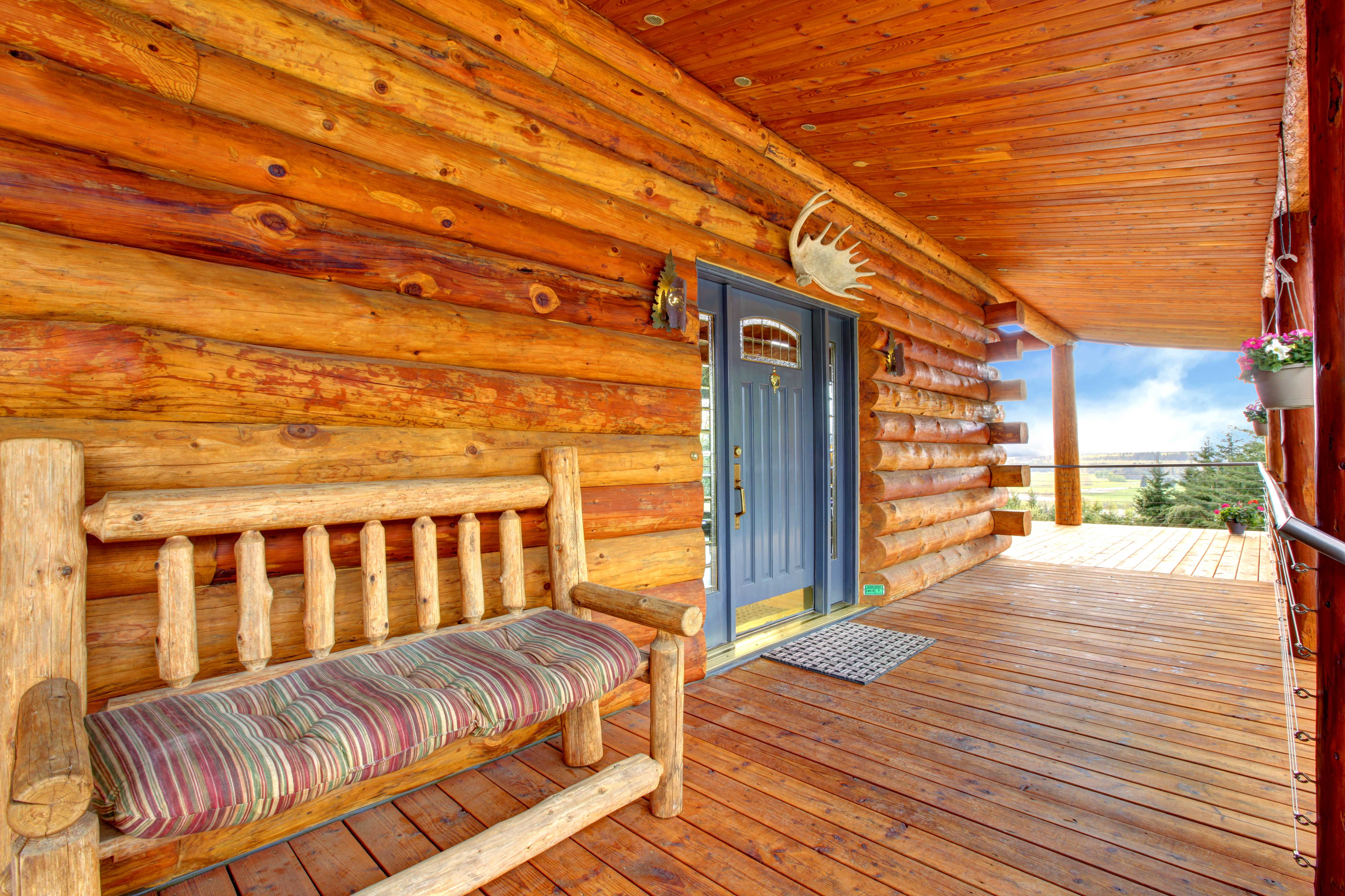 front porch on a custom made wood cabin